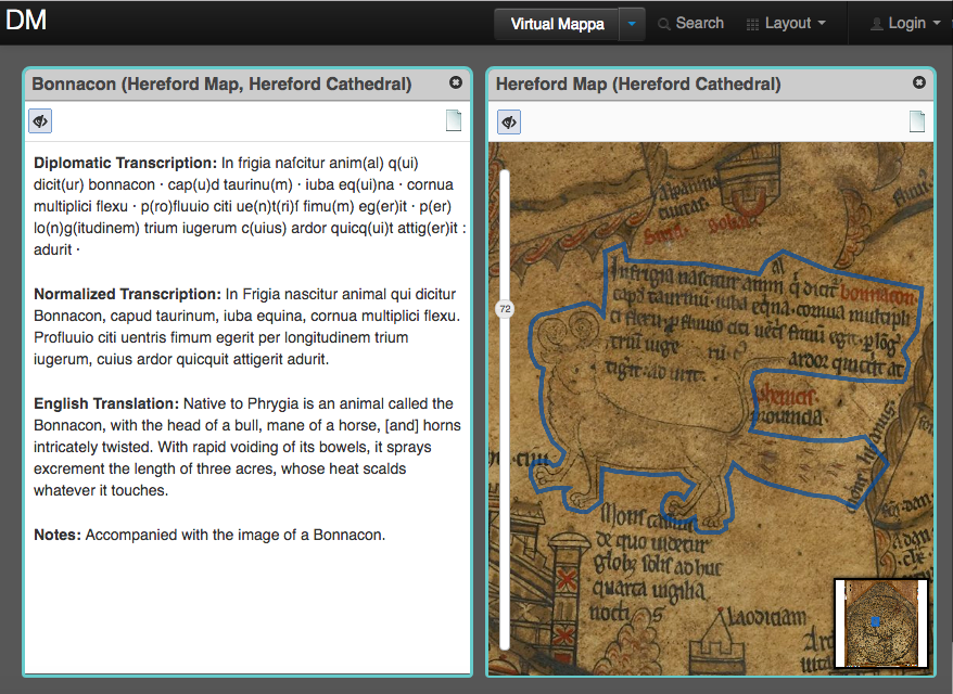 The Virtual Mappa Project and DM: Online Editions of Medieval Maps